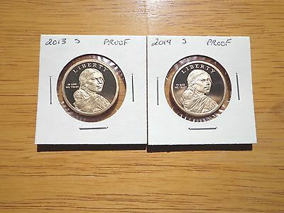 2013 s & 2014 s Sacagawea Dollar Proof Native American 2 Coin Set Lot
