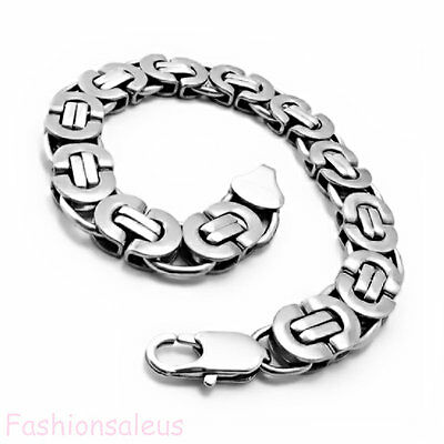 Byzantine Chunky Stainless Steel Mens Silver Tone Heavy Link Chain Bracelet 8.7""