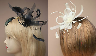 Flower Feather Comb Fascinator Ladies Day Royal Ascot Wedding Races 10