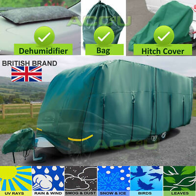 Maypole MP9532 14-17ft Breathable 4 PLY GREEN Caravan & Hitch Cover + DeMister
