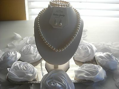 Flower Girl Wedding Big Kids or Adult 8mm Cream Pearl 3pc Gift Box Necklace Set
