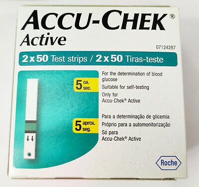 2 x 100 Test Strips for Accu-Chek Active Blood Glucose Monitoring System - New