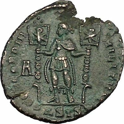 Vetranio w two labarums in The Name of Constantius II Ancient Roman Coin i39153