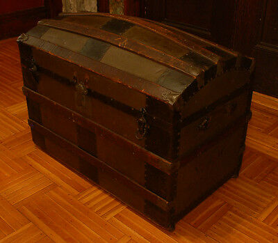 HUGE 1800's Antique Domed Hump Back Steamer Trunk - Stage Coach Treasure Chest