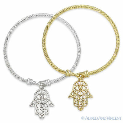 Hamsa Hand of Fatima & Evil Eye Luck Charm Judaica Kabbalah Cuff Bangle Bracelet