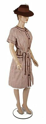 50/60s 'Harrods' Original Brown Abstract Check Design Shift Style Dress