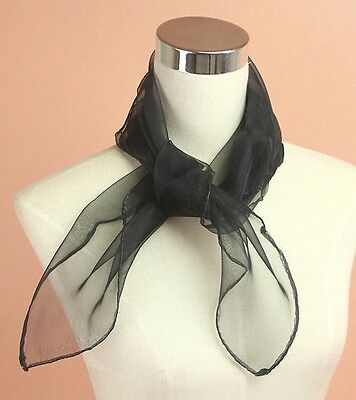 50s Black NECK SCARF, PINK LADY GREASE, HEN NIGHT TIE FANCY DRESS ACCESSORY GIFT