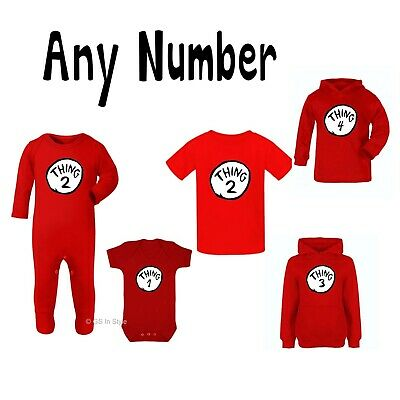 Thing 1 T-Shirt World Book Day Bodysuit Vest Dr Seuss Cat In The Hat Tee Kids 2