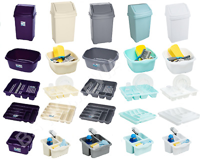 Plastic Swing Dustbin Cutlery Tray Holder Dish Drainer Bowl Set Of 5 Kitchen New