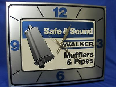 Vintage Walker Mufflers Exhaust Pipes Clock All Metal