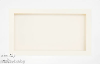 Large 3D White Box Display Frame Cream Flowers Medal Objects Cast Baby Keepsake