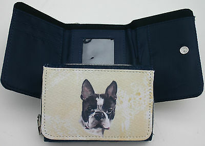 BOSTON TERRIER DOG ladies denim textile purse wallet Sandra Coen sublimation