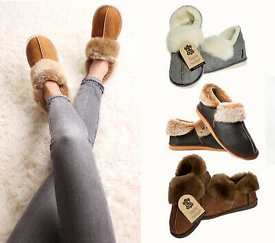 New Mens Womens Genuine Sheepskin Boot Moccasin Slippers 100% Real Fur ALL SIZES