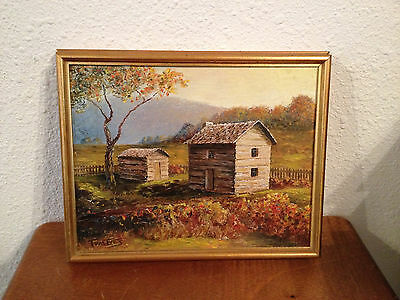 Vintage Antique Signed Tom Ives Impressionist Oil on Board Landscape Painting
