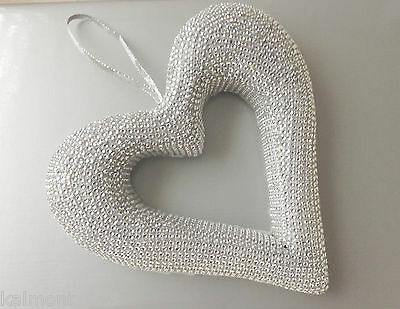 SILVER DIAMANTE MESH covered HEART -, - Great Home Deco,  Wedding or EVENT, GIFT