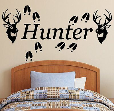 Personalized Name, 2 Deer Heads & Tracks Vinyl Wall Decal Sticker Hunting Decor