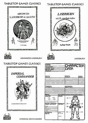 Laserburn 15mm Sci Fi Combat Rulebooks-3 Publications & Record Sheets -Multilist