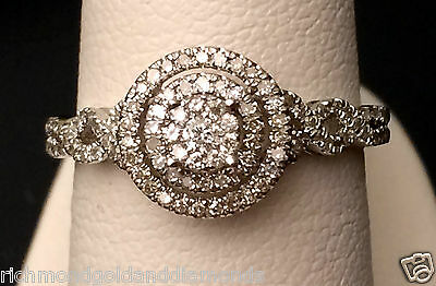 Double Halo Round Vintage Style White Gold Diamonds Engagement criss cross ring