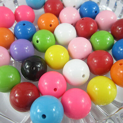 65pcs 24mm Mixed Color Chunky Beads Acrylic Jewelry Pendant Chain Necklace