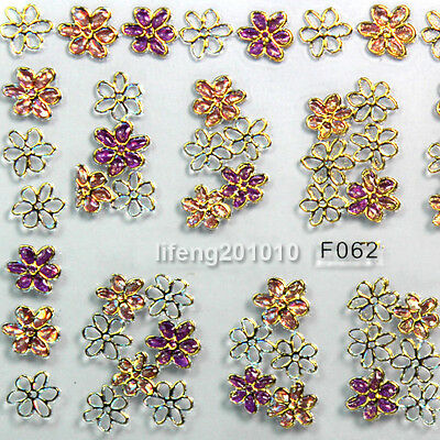 High Quality Gold 3D Flower Nail Art Stickers Decals Decorations Hot stamping M