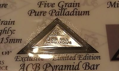 ACB Pyramid Palladium 99.9 Pure 5Grains Bullion PD Bar COA Included VERY RARE $