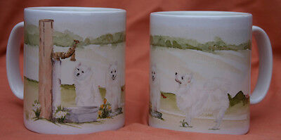 Japanese Spitz Dog Mug Off To The Dog Show Watercolour Print Sandra Coen Artist