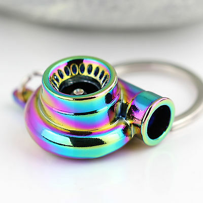 New Charming Rainbow Color Spinning Turbo Keychain Keyring Key Chain Ring
