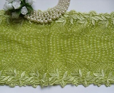 """9-1/4"""" Lime Juice Lt. Green Embroidered Leaves Lace Trims-1 Yard-T692G"""