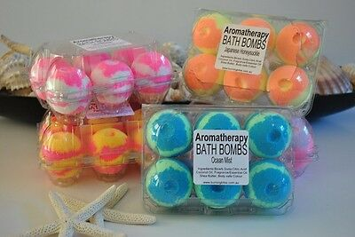 24 x Aromatherapy Bubble Bath Bombs with COCONUT OIL  4 DIFFERENT FRAGRANCES