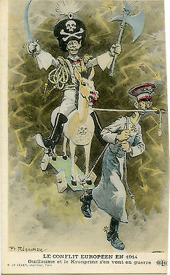 SATIRE.CARICATURE.GUILLAUME II HUSSAR OF THE DEATH.KRONPRINZ.SIGNé REGAMEY F.