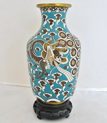 """7.55"""" Antique Chinese Brown & Blue Cloisonne Vase w/ Celestial DRAGONS & Stand"""