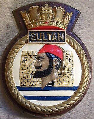 HMS SULTAN LARGE METAL SHIP'S BADGE PLAQUE ROYAL NAVY RN ENGINEERING BASE q299