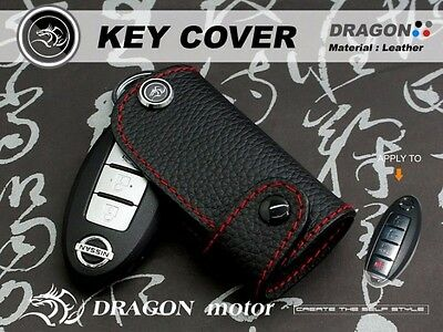 Leather Key fob Holder Case Chain Cover FIT For 2016 NISSAN X-TRAIL MARCH TIIDA