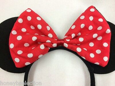 BLACK MINNIE MOUSE EARS HAIR HEAD BAND RED BOW 80s FANCY DRESS PARTY ACCESSORY