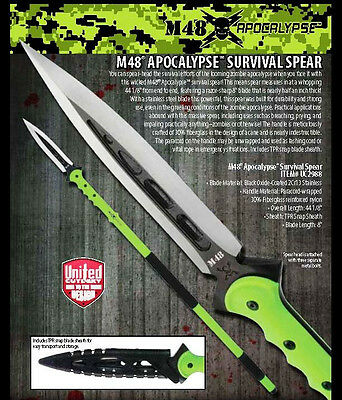 """United Cutlery M48 44"""" Zombie Apocalypse Survival Spear With Sheath UC2988 New"""