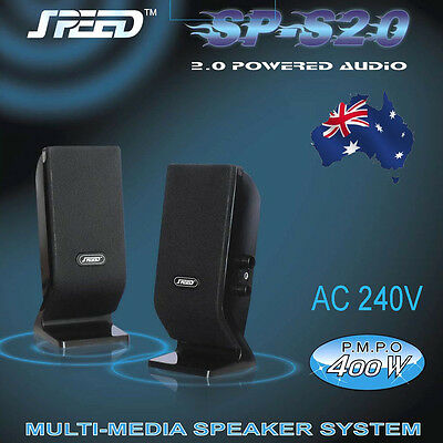 SPEED SP-S20 2.0 Stereo Speakers (240V) for PC, Tablet, iPad, MP3, Smartphones