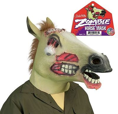 Full Size Adult Zombie Horse Head Latex Mask Halloween Costume By