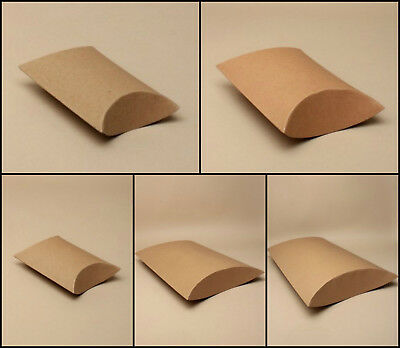 12 Brown Craft Pillow Boxes Pillow Packs Favour Gift Boxes Jewellery Xmas Box