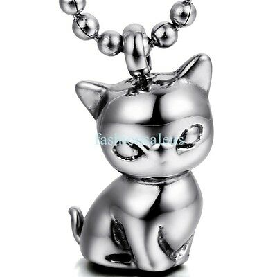 22 Inch Stainless Steel Kitty Cat Pendant Chain Necklace Silver Tone Mens Womens