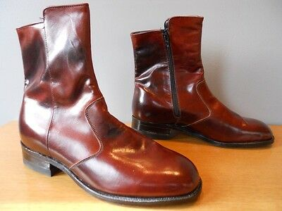 Nos Vintage 60s Goodyear Rust Burgundy Brown Leather Zip Ankle Boots Trucker 6.5