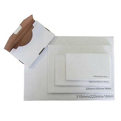 100 x DVD Size Cardboard Letter Mailer 220x160x16mm White Packaging Carton Box