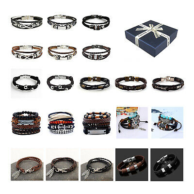 Genuine Leather Bracelet Bangle Wristband Men Women Friendship Valentines Gift