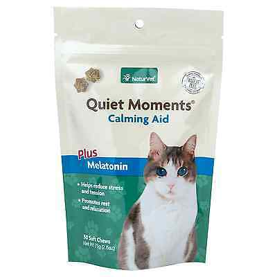 NaturVet CAT QUIET MOMENTS Calming Plus Melatonin Anxiety Relief 50 Soft Chews