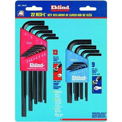 New Eklind 22 Pc Combo Set Sae/metric Allen Hex Key Wrench Set Usa Made Sale