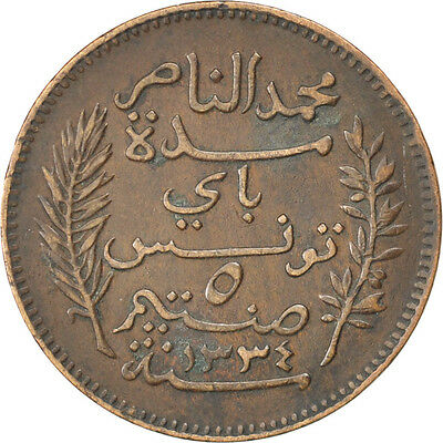 [#32755] TUNISIA, 5 Centimes, 1916, Paris, KM #235, EF(40-45), Bronze, 26, 4.96