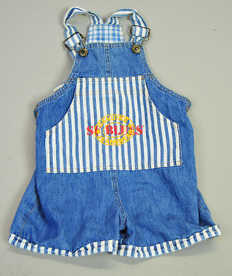 VINTAGE 80s 90s SF Blues Jean overalls shorts romper sz 4T blue striped nautical