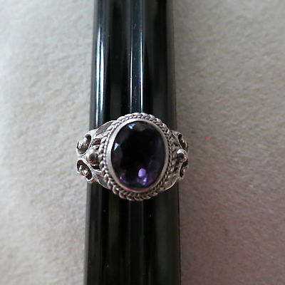 Intricate Sterling Silver and Amethyst Ring – Size 6