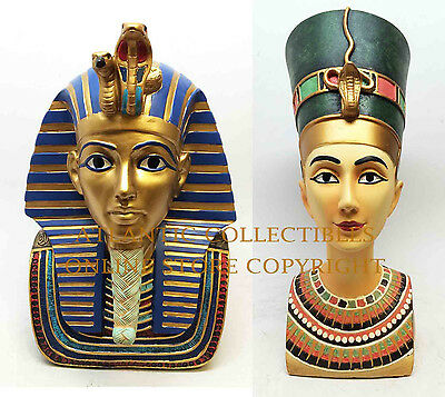 Ancient Egypt King Tut and Queen Nefertiti Bust Sculpture Set Premium Quality