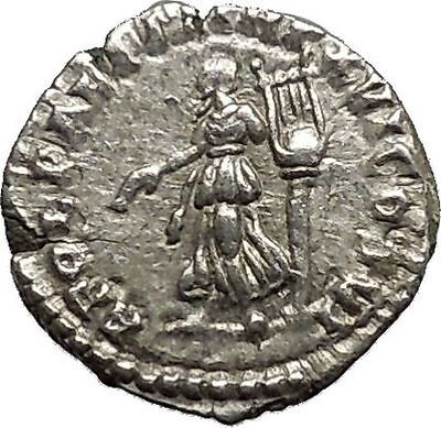 Commodus son of Marcus Aurelius Silver Ancient  Roman Coin APOLLO LYRE  i39534
