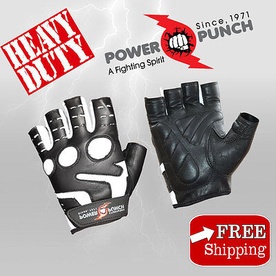 Power Punch Weight lifting Gym Gloves Leather Fitness Exercise Body Building New